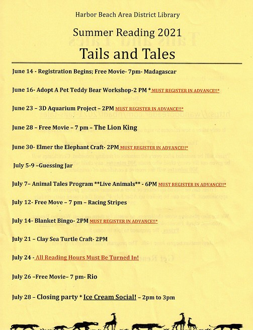 youth summer reading schedule 2021